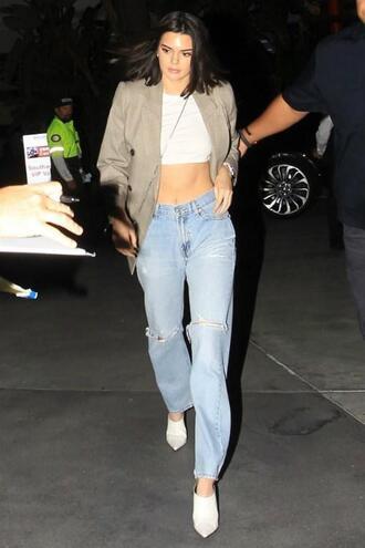 jeans blazer crop tops top denim kendall jenner kardashians