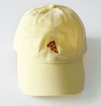 hat cap yellow pizza food tumblr red yellow hat yellow cap icon cute pizza cap pizza hat dope