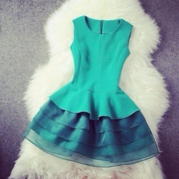 dress green fashion cute tier mini dress style beautiful green dress nice blue dress green dress mini green dress cute dress cute dress turquoise sleeveless ruffle skirt layers aqua blue dress beautiful prom dress