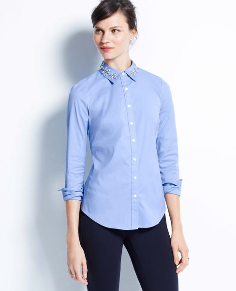 Jeweled Collar Shirt | Ann Taylor