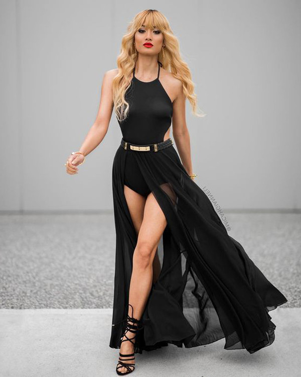 Mesh Slit Maxi Bandage Skirt Black