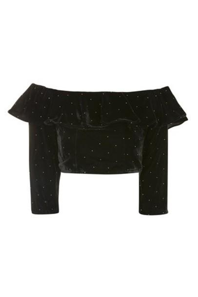 Topshop top black velvet