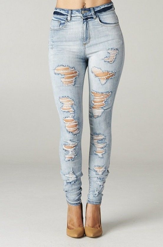 High Rise Skinny Jeans Ripped Destroyed Women Light Weight Denim Vintage Waisted | eBay