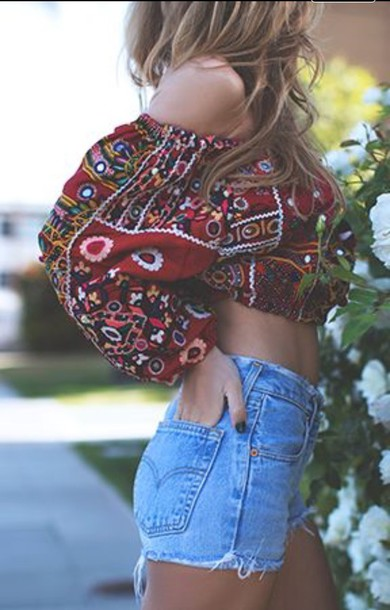 blouse strapless red pattern cropped blouse long sleeves tank top boho crop tops jeans shorts top off the shoulder summer top multicolor off the shoulder top shirt boho shirt burgundy