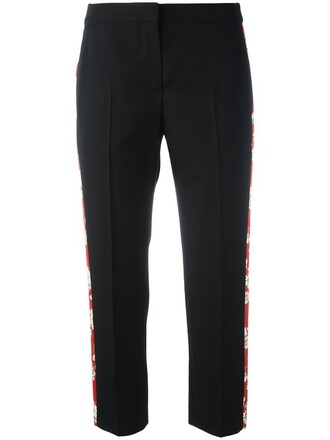 cropped women black silk wool pants