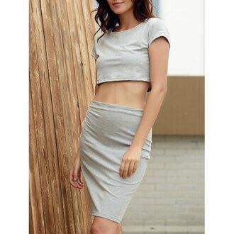 dress grey grey dress crop tops crop cropped set two piece dress set
