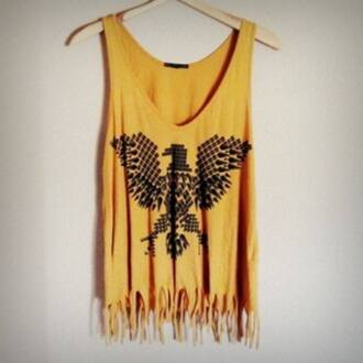 t-shirt crop tops top tank top fashion clothes outfit yellow yellow top beautiful girl eagle hipster aztec ethnic boho birds