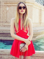 dress,red dress,red,hipster,original,skater dress,cut-out,short,cute,kayture,bag,best accessories by kayture,leopard print,red mini dress,cut-out dress,mini dress,a line dress,tortoise shell,tortoise shell sunglasses,cat eye,kristina bazan,top blogger lifestyle,blogger,clutch,gold clutch,date outfit,date dress,ruffle,sunglasses,summer dress,beautiful red dress,prom,red skater dress,rouge,glamour,flawless,glamorous dresses,flowy dress,party dress,colorful dress