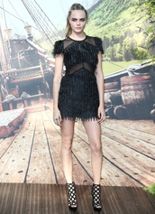 dress,black dress,black,feather dress,cara delevingne,peter pan,see through,prom dress,graduation dress