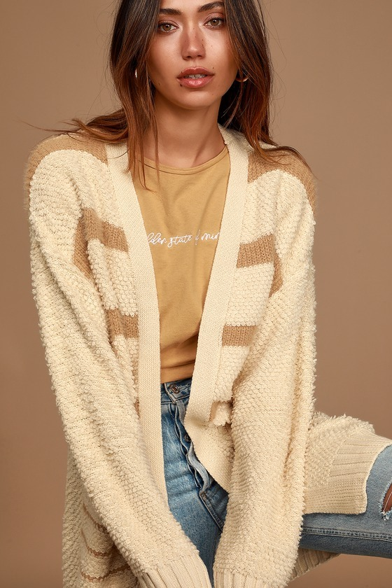 Snuggle Session Cream and Taupe Striped Knit Cardigan