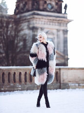 coat,tumblr,fur coat,fur collar coat,big fur coat,oversized,oversized coat,printed coat,printed fur coat,bag,black bag,pants,black pants,boots,black boots,high heels boots,sweater,black sweater,winter outfits,winter coat,winter look,printed oversized coat