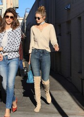 blouse,jeans,fall outfits,boots,knee high boots,over the knee boots,gigi hadid,shoes,sweater,fall sweater,lace up jumper,winter outfits