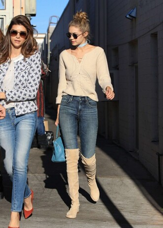 blouse jeans fall outfits boots knee high boots over the knee boots gigi hadid shoes sweater fall sweater lace up jumper winter outfits