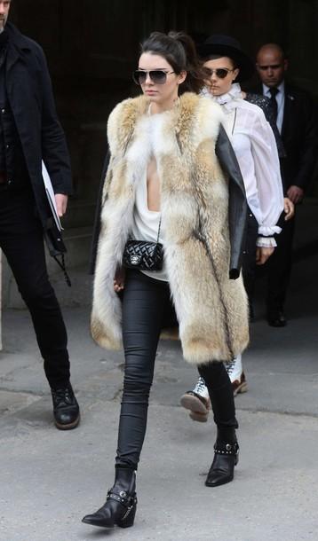coat kendall jenner fashion week 2015 fur fur coat