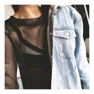 top knit mesh sweater see through