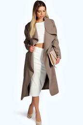 coat,shawl collar coat,beige coat,boohoo coat