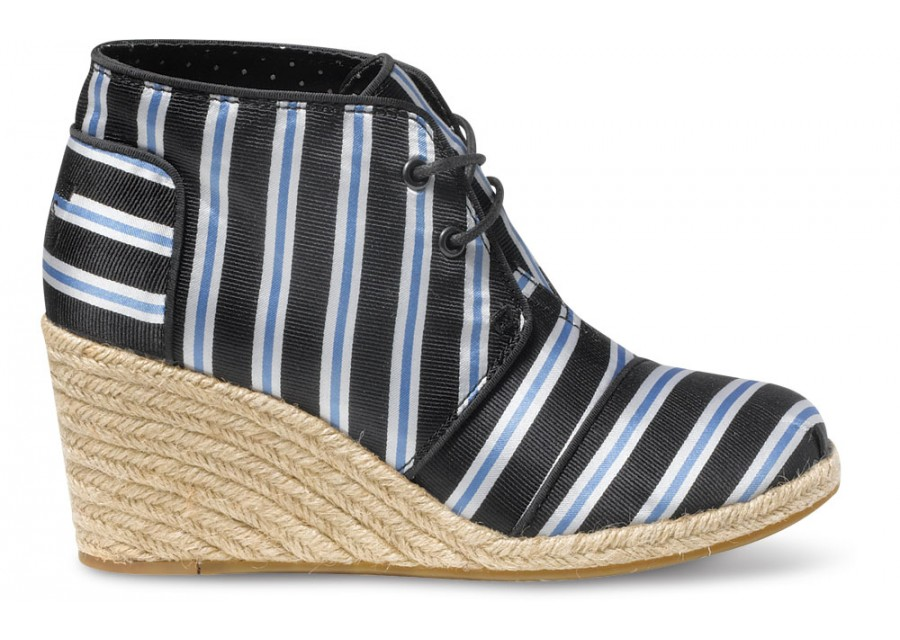 TOMS  Tabitha Simmons Blue Cricket Stripe Women's Desert Wedges | TOMS.com