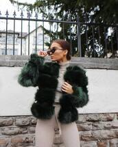 jacket,tumblr,green jacket,forest green,green,fur jacket,top,turtleneck,grey turtleneck top,pants,sunglasses,cat eye