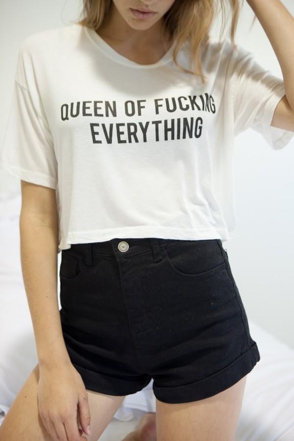 t-shirt crop tops white graphic tee