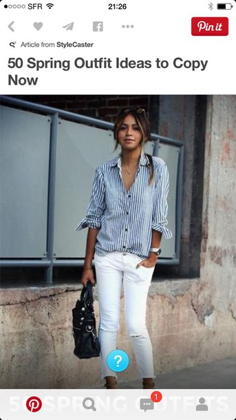blouse striped blue and white blouse
