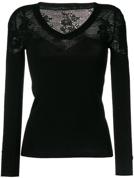 Twin-Set jumper women black wool knit sweater