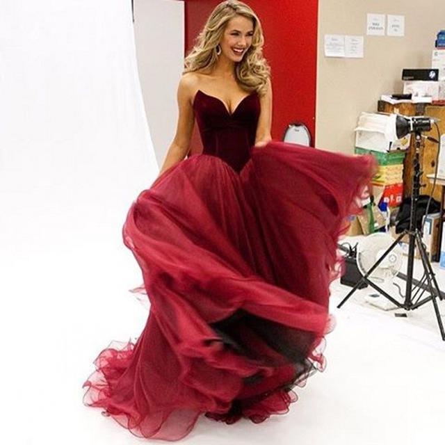 Dress sweetheart a line celebrity red carpet dress tulle long robe de
