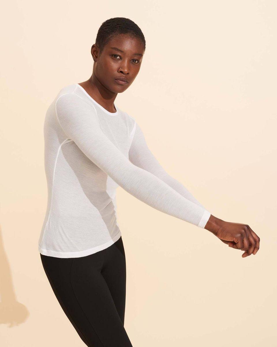 Alice Rib Long Sleeve Top - White