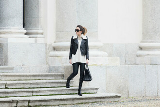 scent of obsession blogger sunglasses shearling jacket black jeans