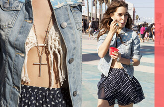 jewels nastygal nastygal.com shopnastygal.com chiffon skirt crochet bikini bikini top cross necklace denim jacket americana american flag american flag denim jacket vintage-inspired vintage-inspired denim jacket lookbooks star struck star struck lookbook jacket skirt swimwear