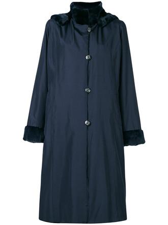 coat women blue silk