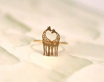 1 PCS Order New 2014 Cute Cool Animal The Giraffe Ring Heart Rings 18K Gold Silver Plated For Women-in Rings from Jewelry on Aliexpress.com