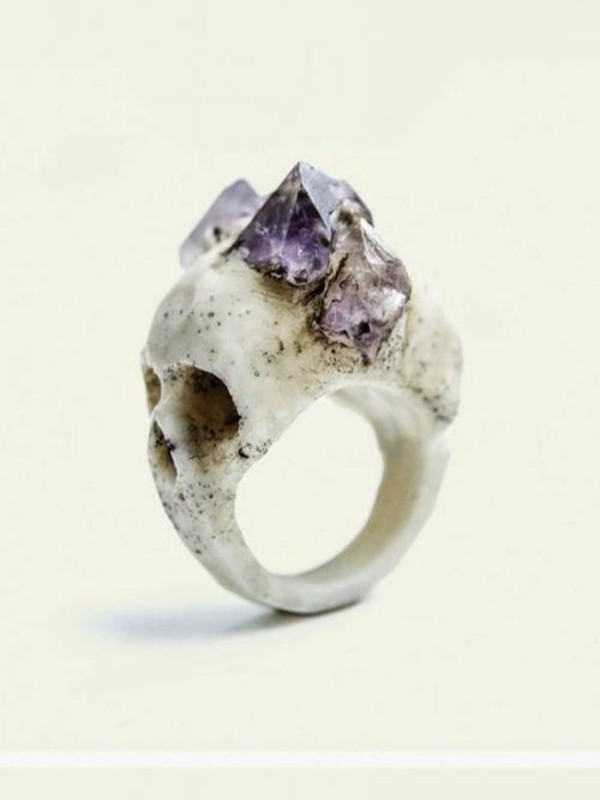 jewels skull skull ring ring ring gemstone gemstone skull ring halloween accessory statement ring vintage purple bones stones hipster bohemian skirt bandage skirt too set skull ring bague rings and jewelry gothic jewellery decoration grunge goth