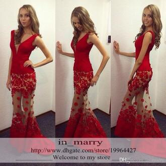 dress 3d floral appliques mermaid prom dresses sexy red evening dresses sheer tulle skirt prom dresses deep v neck prom dresses arabic prom dresses african prom dresses red pageant evening gowns formal graduation gowns
