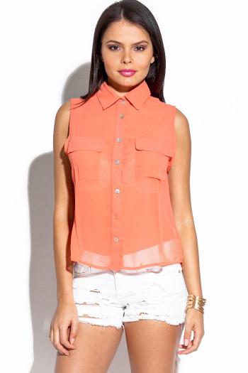 Coral chiffon sleeveless blouse