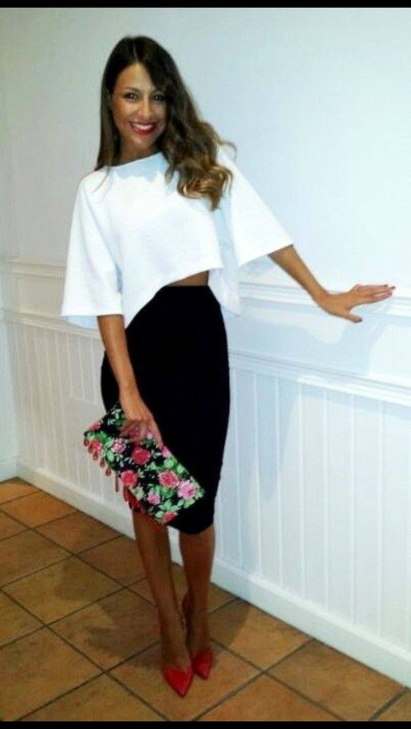 Blouse Skirt Dress White Midi Shirt White Black Red