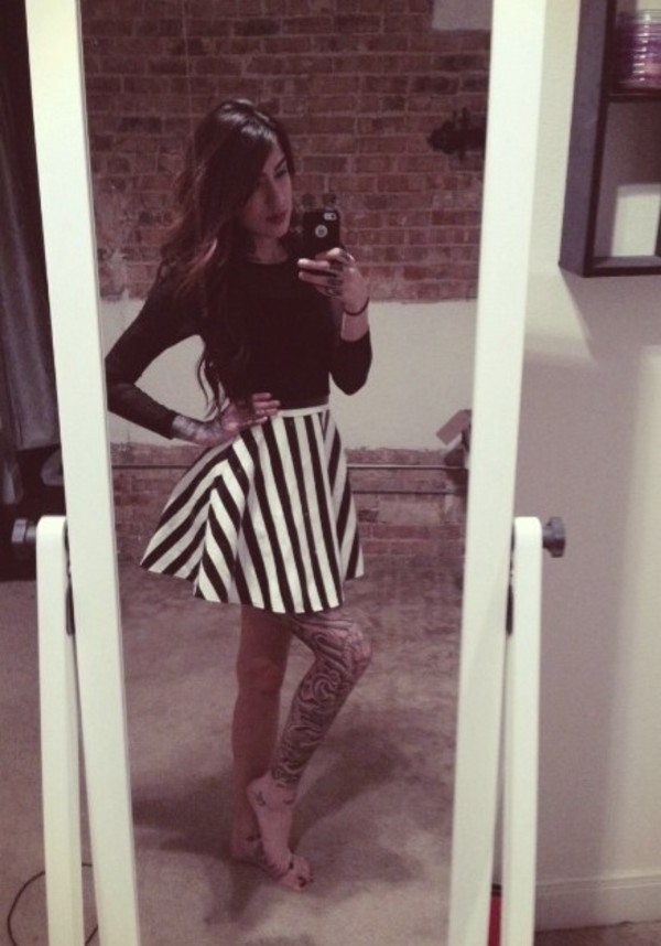 dress black and white one piece dress black circle skirt skirt