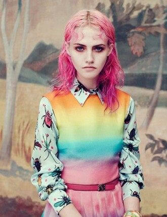 blouse rainbow dress clothes neon sweater belt pink hair pink hair rainbow dress seapunk cute blue green pastel yellow orange purple turquoise spider spiders white blouse white top white shirt multicolor
