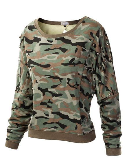 sweater brown jacket brown green green jacket camouflage stud studs studded studded shirt camoflauge sweater brown sweater studded sweater