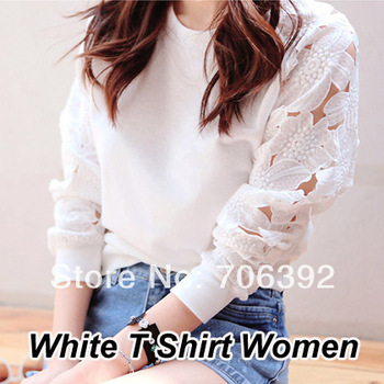 New 2014 Spring Woman Clothes Fashion O Nect Flower Lace Hollow Out Long Sleeve Pullover Basic White T Shirt Women-inT-Shirts from Apparel & Accessories on Aliexpress.com