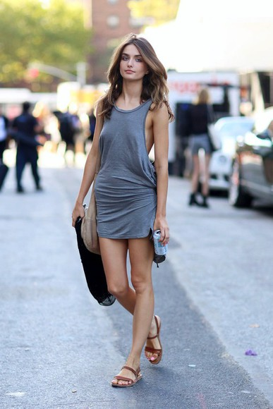 grey knot tank dress tank top sandals hot model tall tie casual chill cool