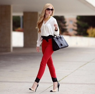 blouse white girl style classy pants red pants shirt white shirt pumps nude pumps bag black bag ysl bag ysl necklace preppy office outfits sunglasses black sunglasses