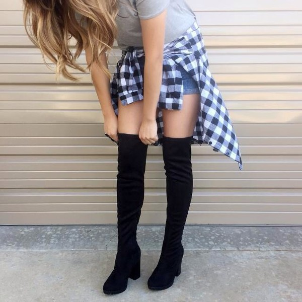 24e4e1f58cb shoes black black shoes black heels black boots knee high boots over the knee  boots suede.