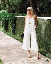 top,tumblr,white top,pants,white pants,all white everything,culottes,cropped pants,sunglasses,sandals,sandal heels,high heel sandals
