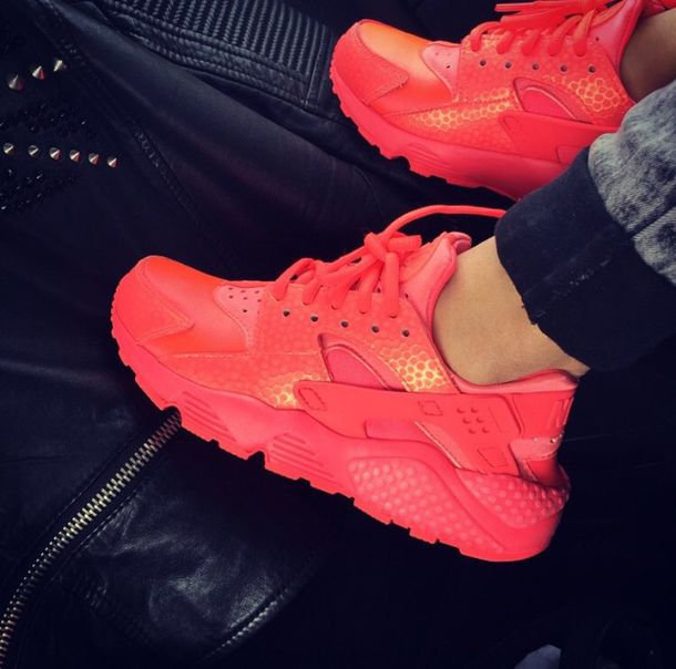 3790f3199655 shoes shoes nike red nike shoes haruaches huarache neon sneakers red nikes sneakers  red shoes hot