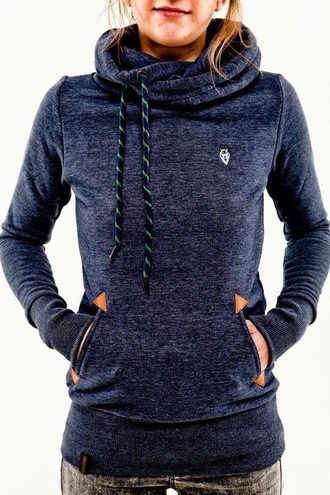 sweater navy blue cowl neck hoodie