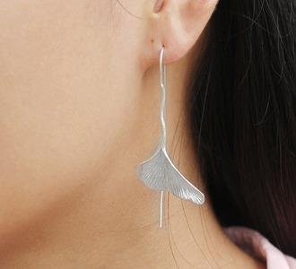 jewels ginkgo biloba earrings handmade sterling silver