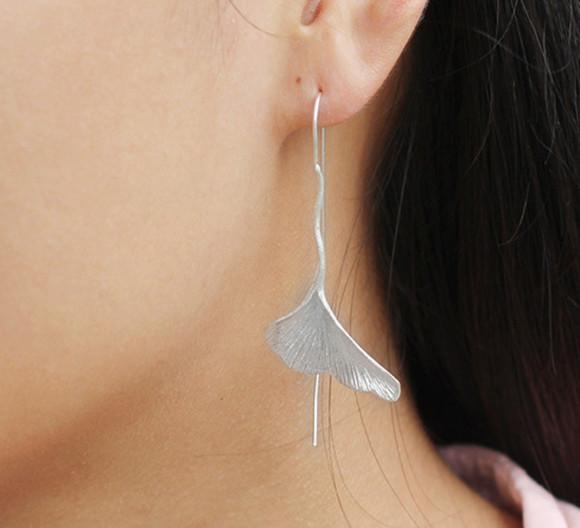 jewels sterling silver handmade ginkgo biloba earrings