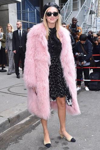coat dress streetstyle paris fashion week 2017 blogger chiara ferragni the blonde salad fur fur coat