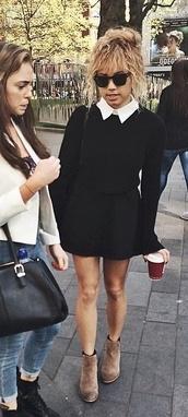 dress,beautycrush,ray-ban,black,white,collared dress