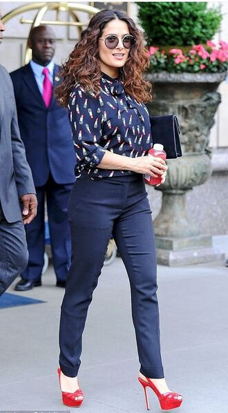 blouse salma hayek sandals pants red heels